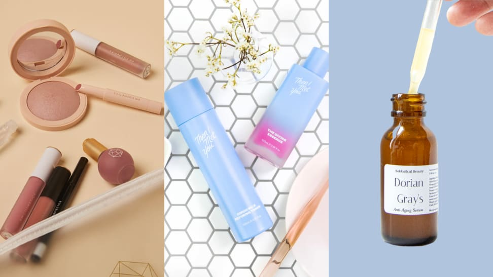 A collage of makeup, toners, and serums from beauty brands.