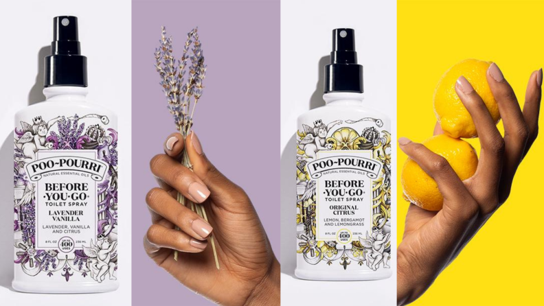 Hands holding lemons and lavender in front of purple and yellow backgrounds. Poo-Pourri spray bottles in front of white backgrounds.
