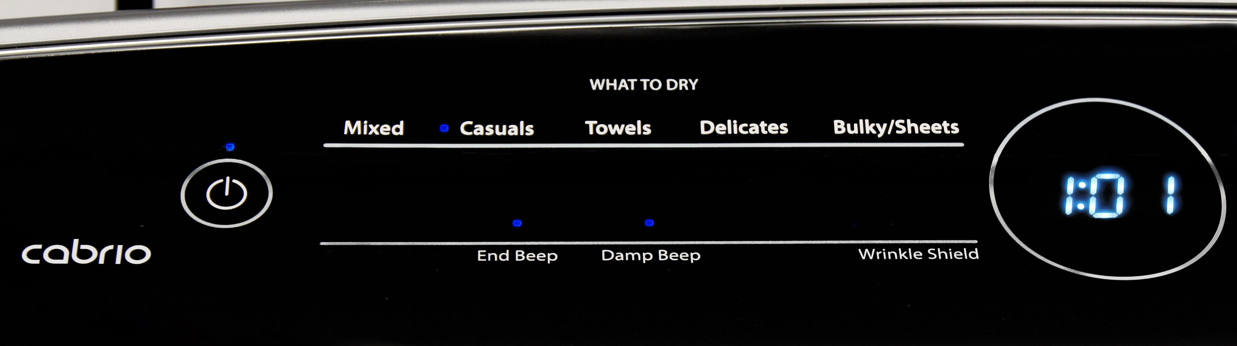 Whirlpool's Intuitive Touch Controls work to make selecting the right cycle for the Whirlpool Cabrio WED8000DW easy.