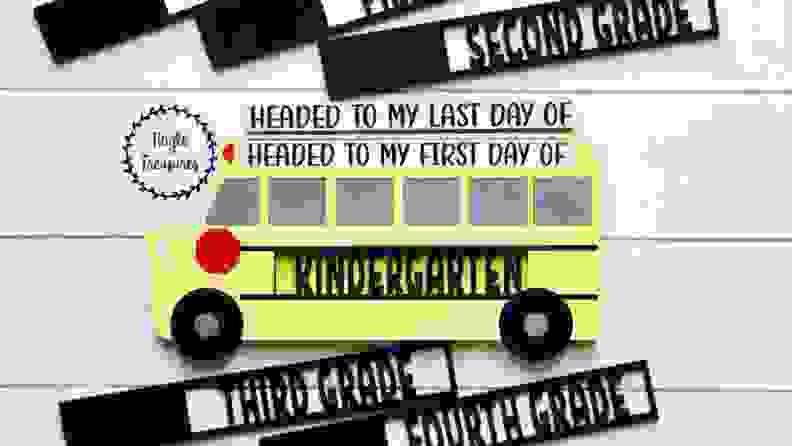 A school bus sign