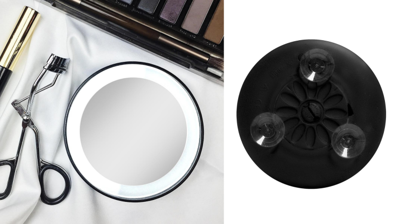 On left, LED spotlight cosmetic mirror next to eyelash curler and eyeshadow palette. On right, three suction cups on the back of LED spotlight mirror.