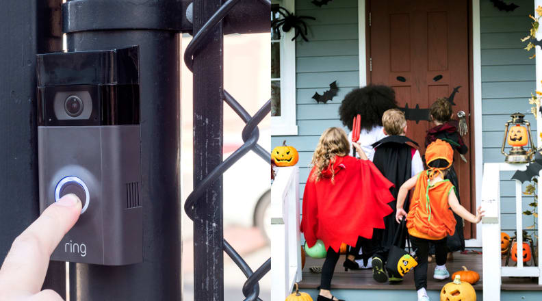 Ring Doorbell and kids trick or treating on porch