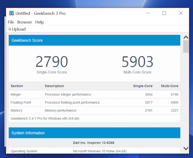 An example of the results of the Geekbench benchmark test.