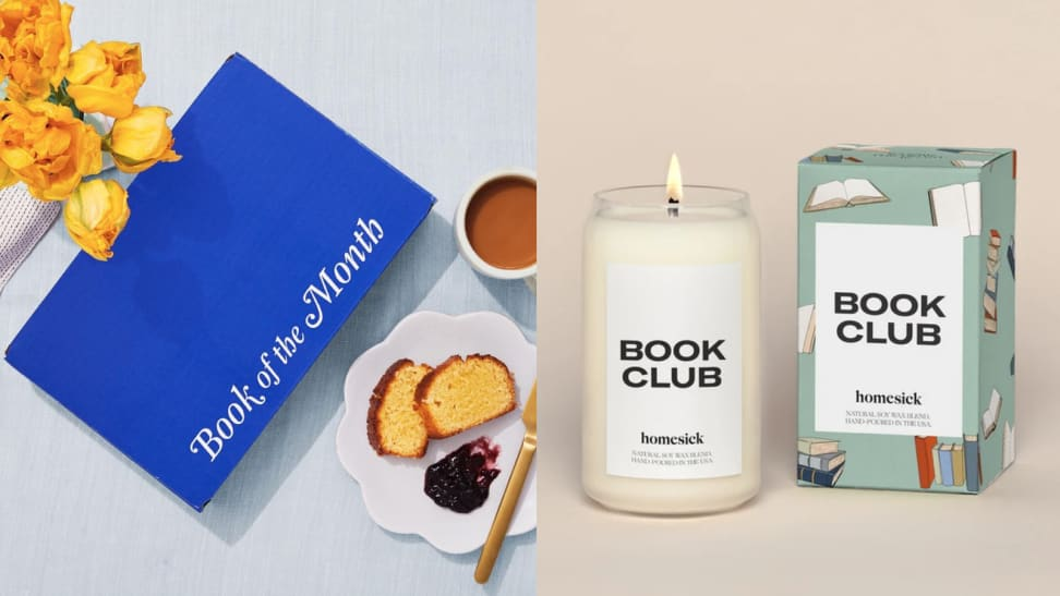"""Book of the month book in a blue box next to a candle from Homesick that reads, """"Book Club"""""""