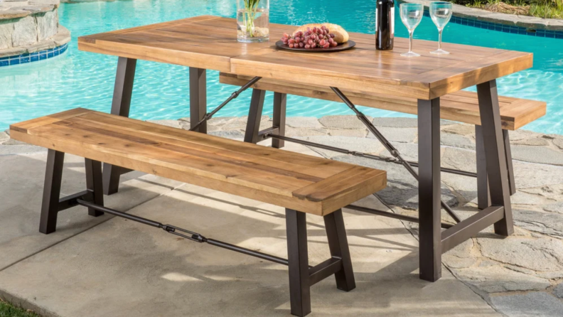 Christopher Knight Home Outdoor Puerto Acacia Wood 3-piece Picnic Dining Set