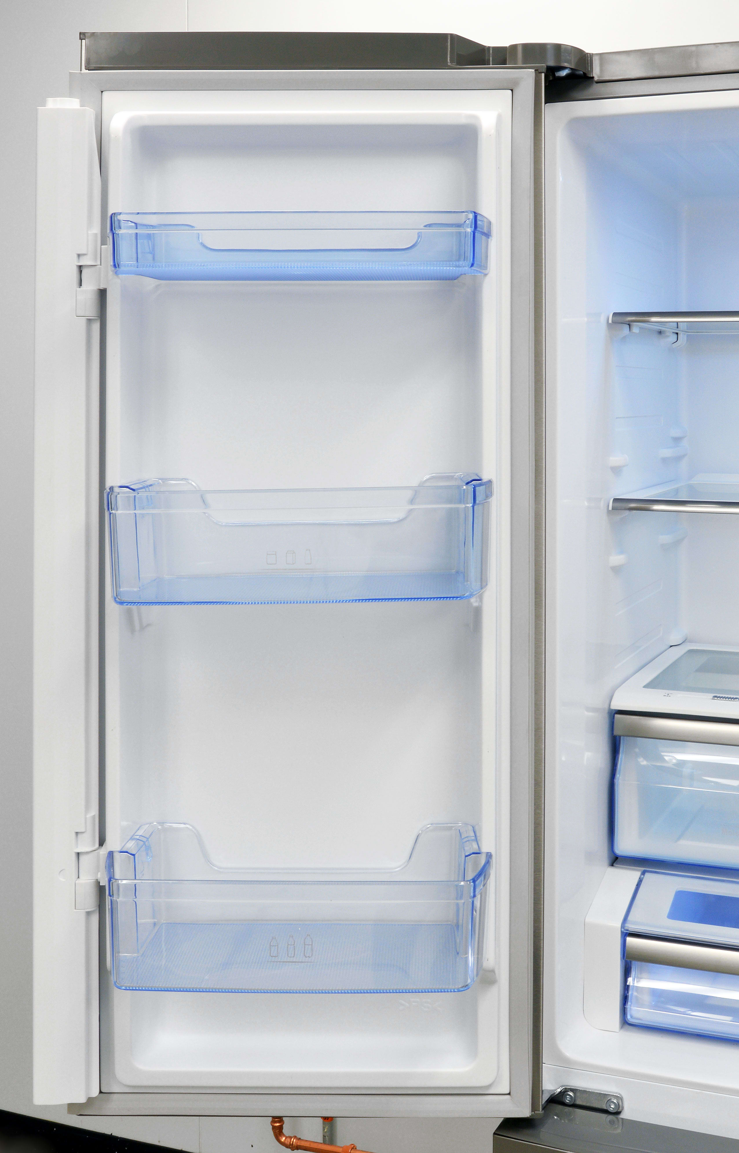 The Hisense RF20N6ASE's left-hand door has three shelves, all of which are deep enough for gallon storage.