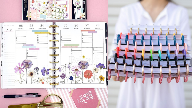 Woman holding planners