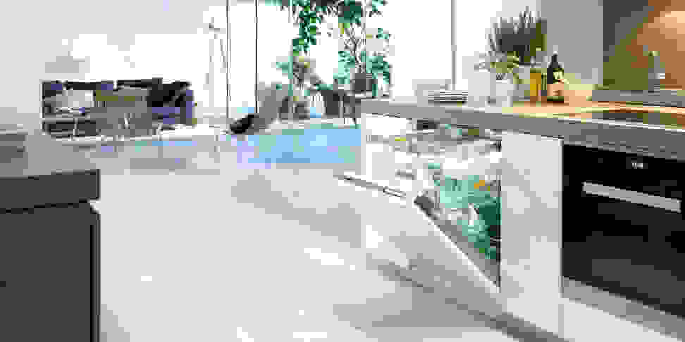 Miele Knock2Open dishwasher in a modern kitchen