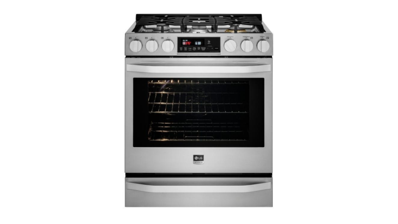The front of the LG Studio gas range in stainless steel finish. The range has a five-burner gas cooktop and a gas convection oven.