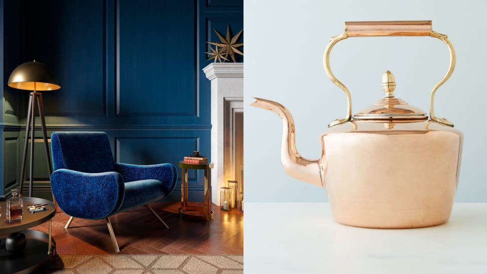 On left, vintage styled living room with blue walls. On right vintage copper round english tea kettle on white countertop.
