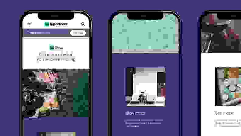 Mobile phones displaying the Tripadvisor Plus app are aligned on a purple background