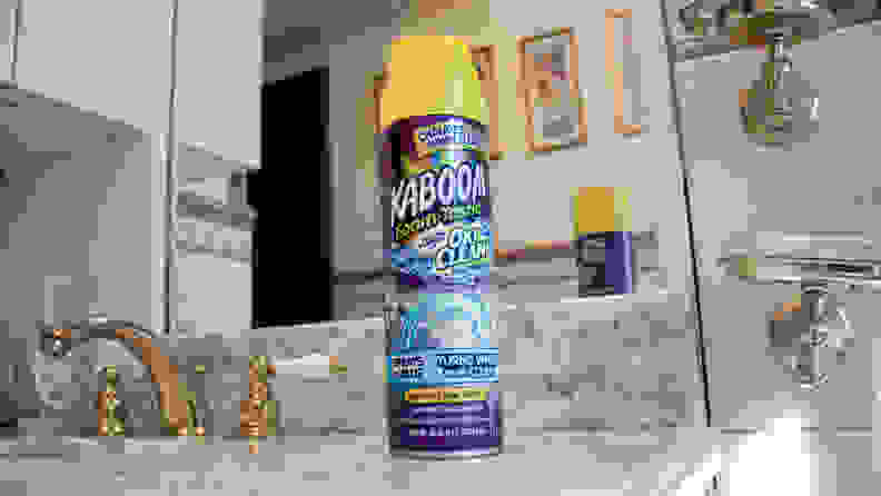 A picture of the Kaboom cleaner sitting on a bathroom sink.