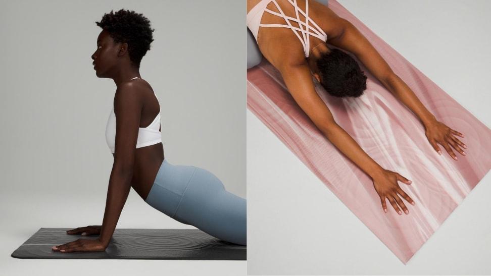 left: woman practicing on lululemon take form mat. right: woman in child's pose on take form mat.