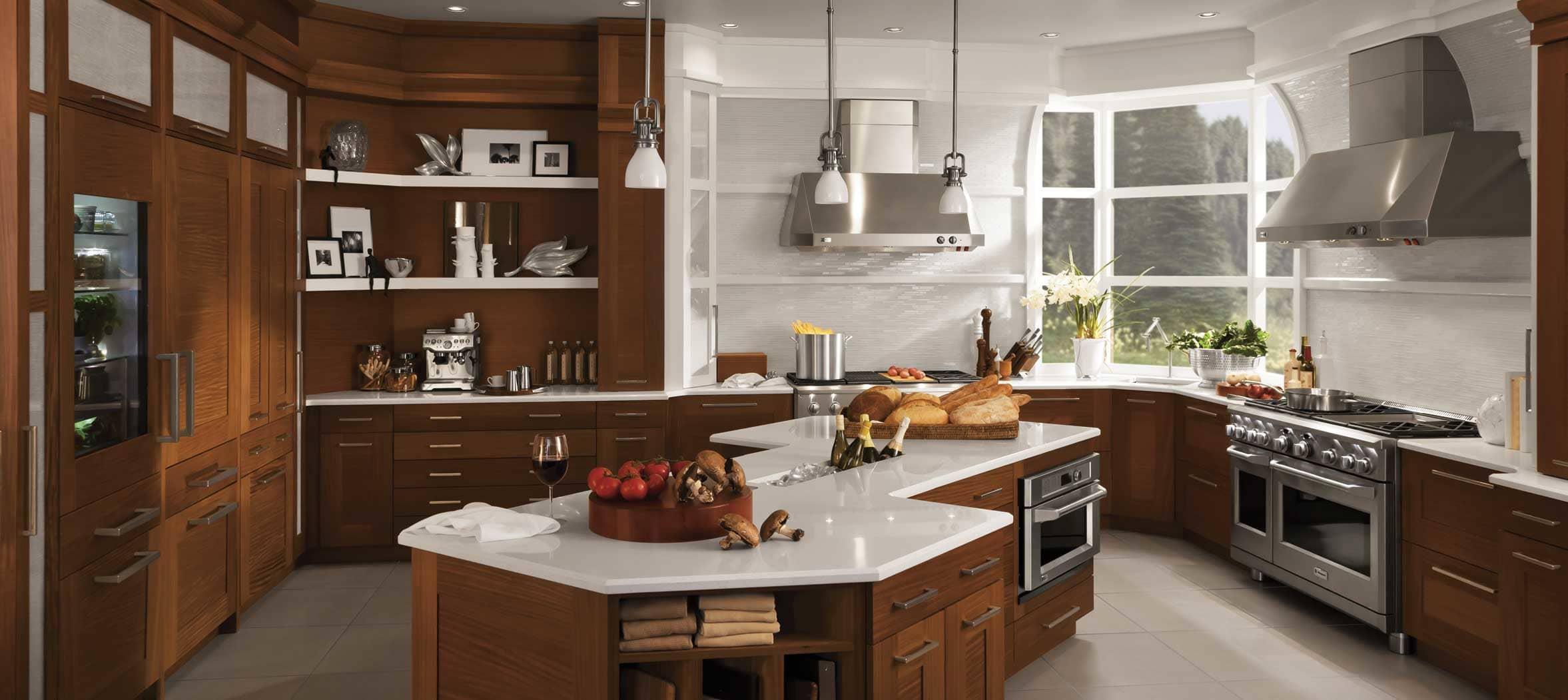 A bright, transitional kitchen designed around a Monogram range.