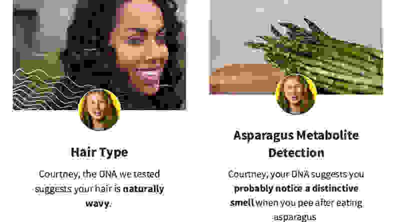 AncestryDNA Traits Hair and Asparagus