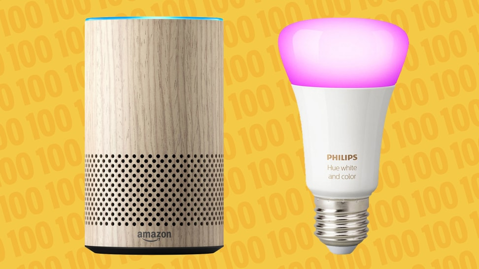 Second-generation Amazon Echo and Philips Hue smart bulb
