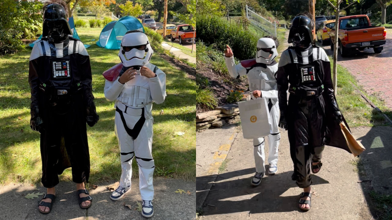Two kids wearing Halloween costumes: one as Darth Vader, one as a Storm Trooper
