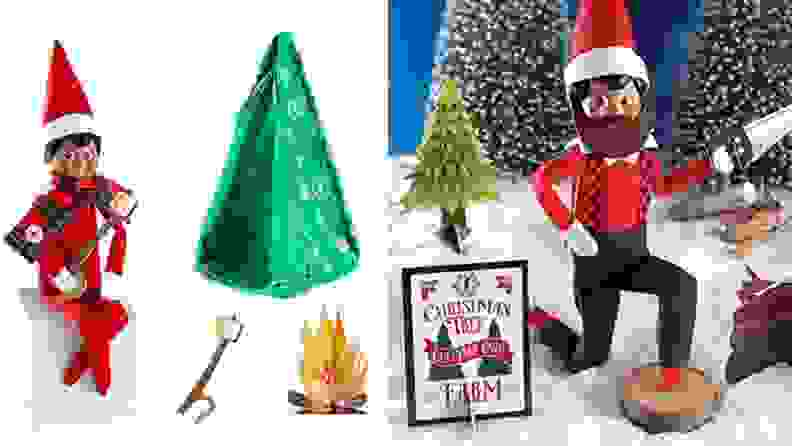 A camping elf and a lumberjack elf.