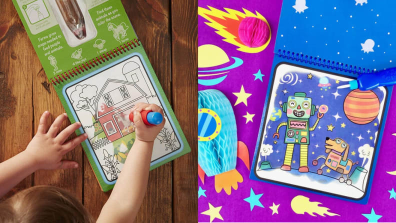 On left, child using watercolor markers to draw in notepad. On right, colorful space-themed children's notepad.