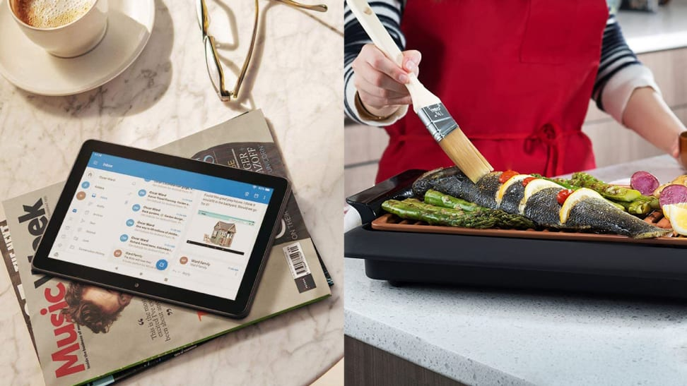 left: amazon tablet on top of magazine on bedside table, right: woman basting skewers on indoor grill