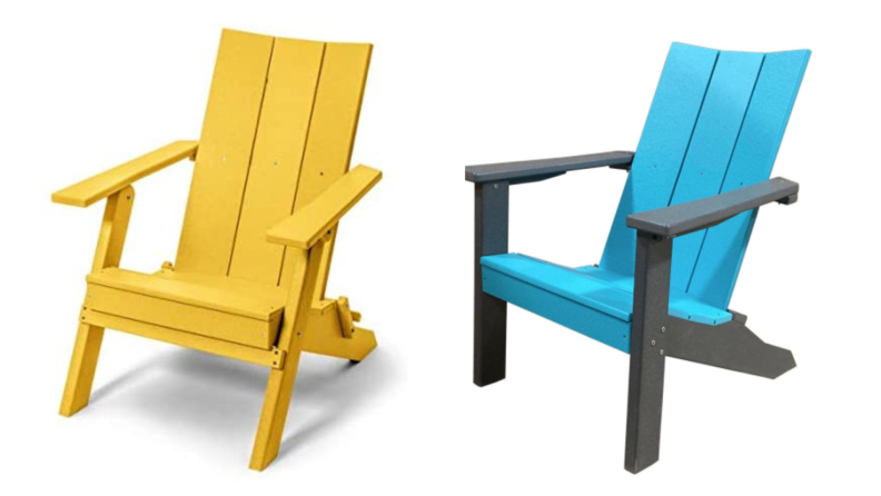 two brightly colored Adirondack chairs