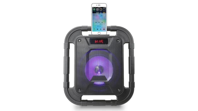 Portable speaker on white background