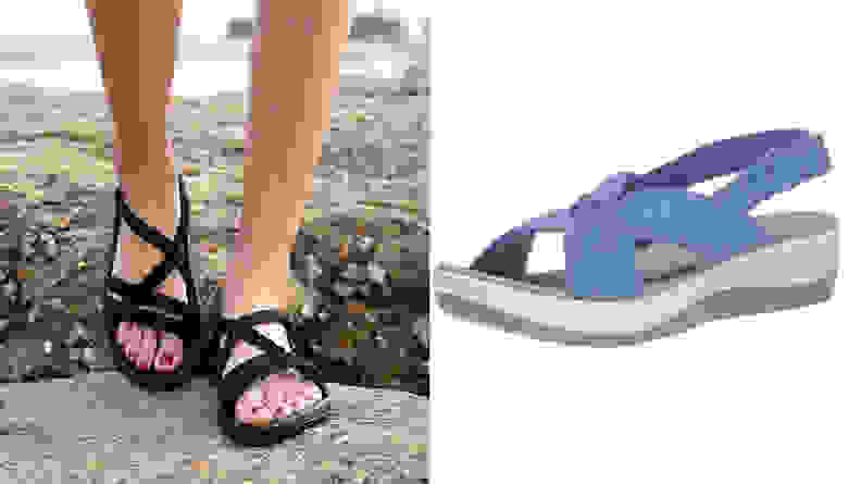 Woman walking on beach with black strappy sandals / Blue Clarks sandals on white background.