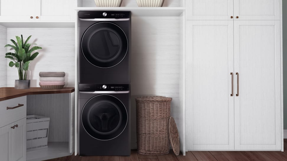 Samsung 8800 front load washer and dryer in a laundry room