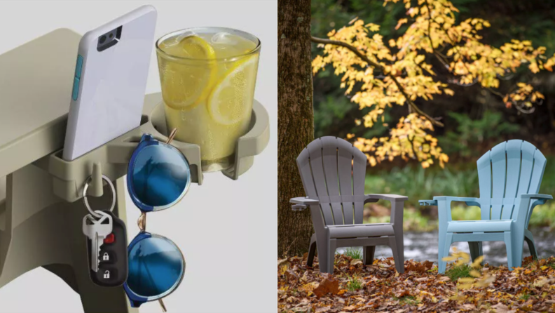 a close-up of an Adirondack chair cup holder, next to two Adirondack chairs in a fall setting
