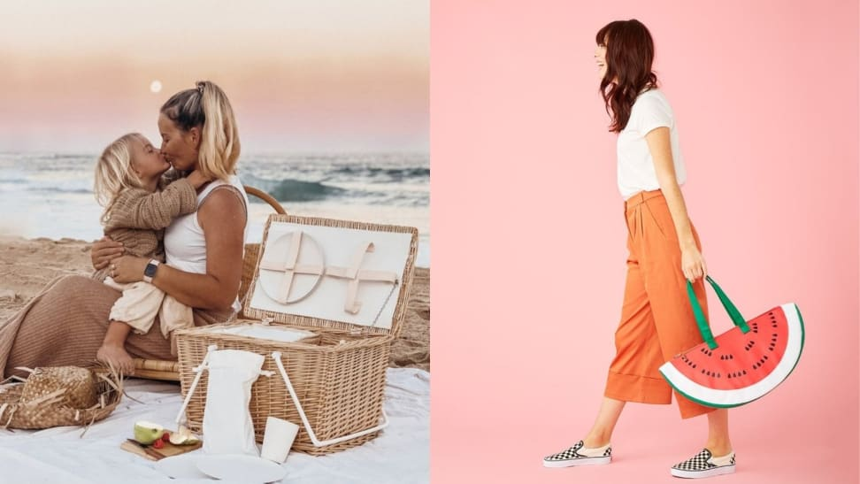Left: Mother and child beach picnic; Right: Woman carrying watermelon picnic bag