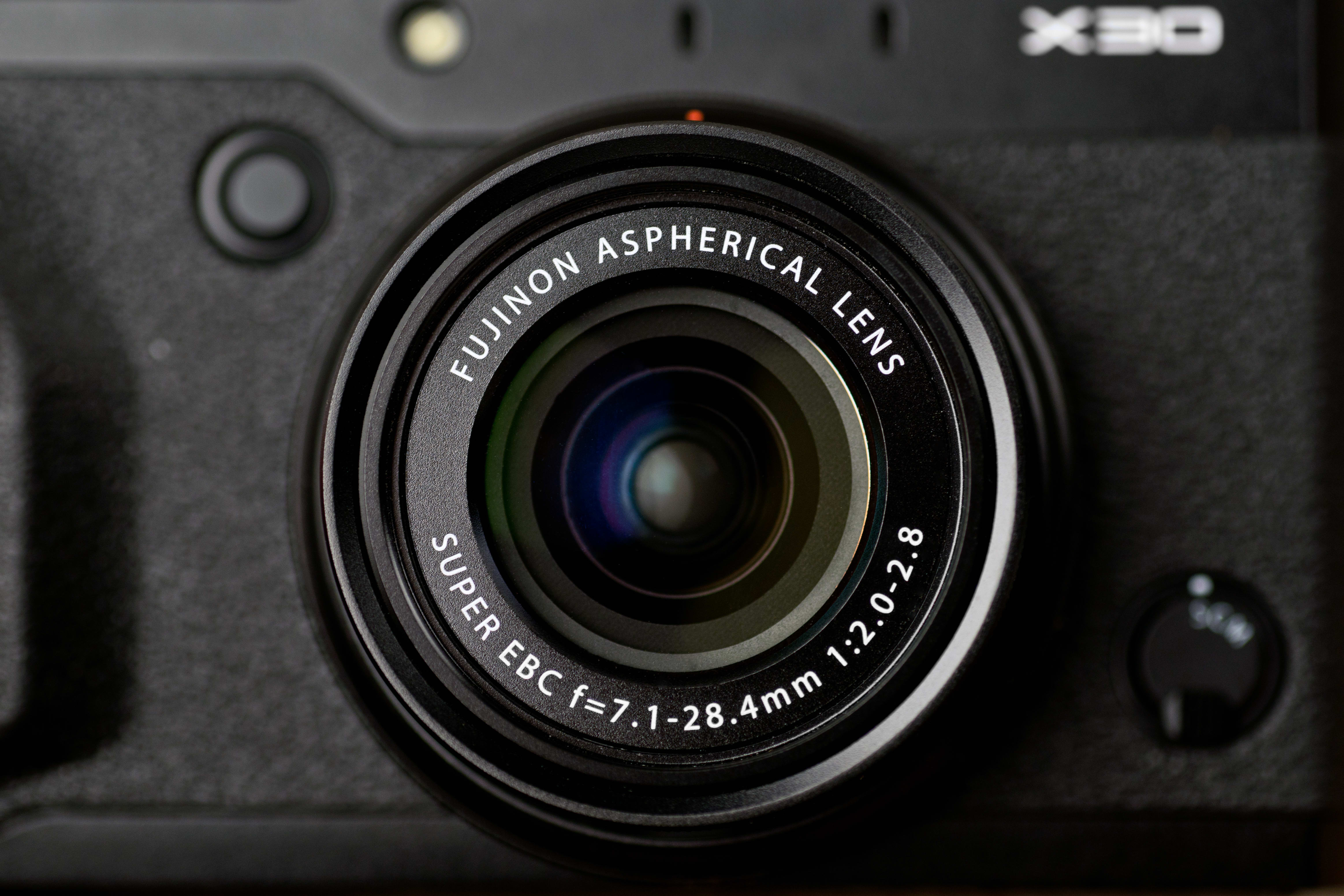 A photo of the Fujifilm X30's lens.