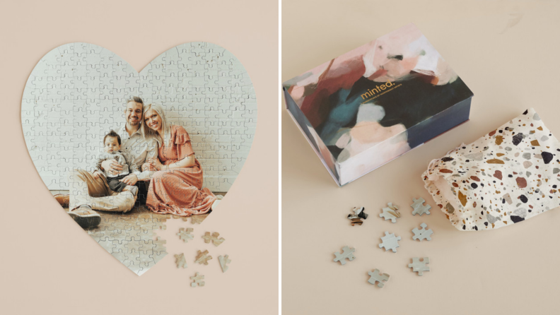 A customized photo puzzle of a couple.