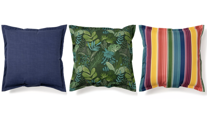 Three throw pillows in different colors
