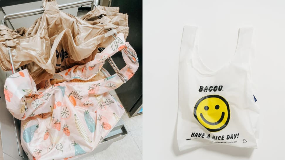 """On left, multi-colored reusable grocery bags next to regular tan colored grocery bags in checkout area. On right, white reusable grocery bag with yellow smiley face and """"Baggu. Have a nice day"""" printed on front."""