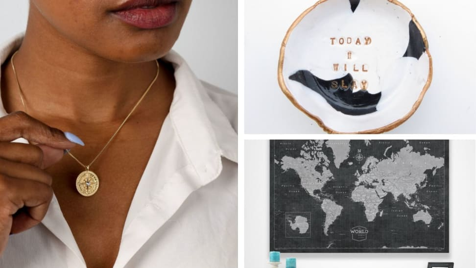 """A woman with a compass necklace, a tray that says """"Today I will slay"""" and a large world map"""
