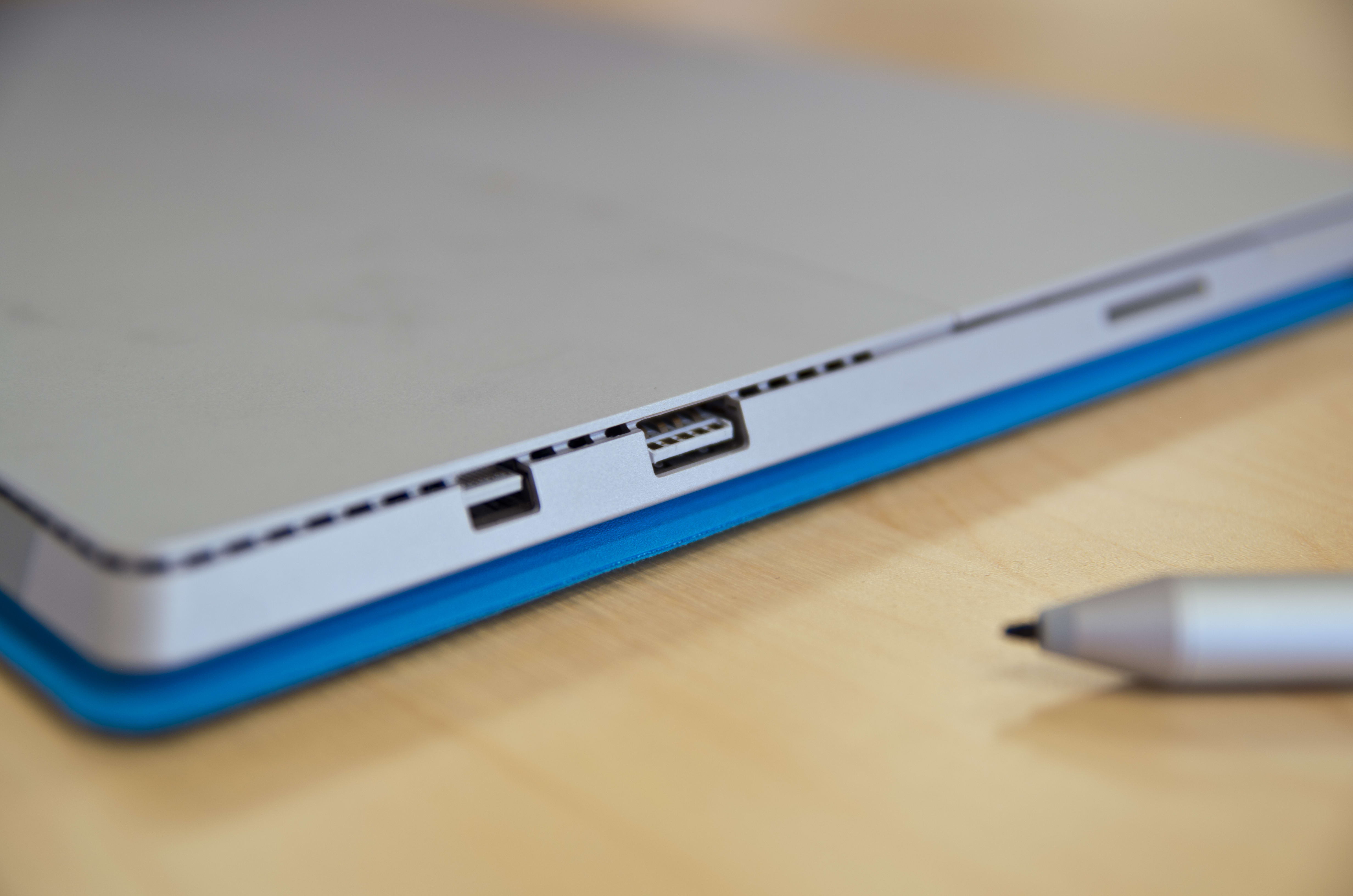 A closer look at the Microsoft Surface Pro 3's USB port.