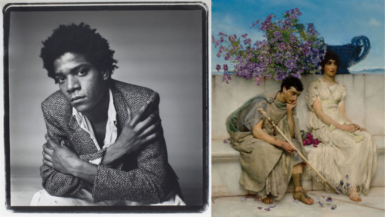 On right, black and white portrait of Basquiat. On left, 19th century painting of man and woman sitting side by side.