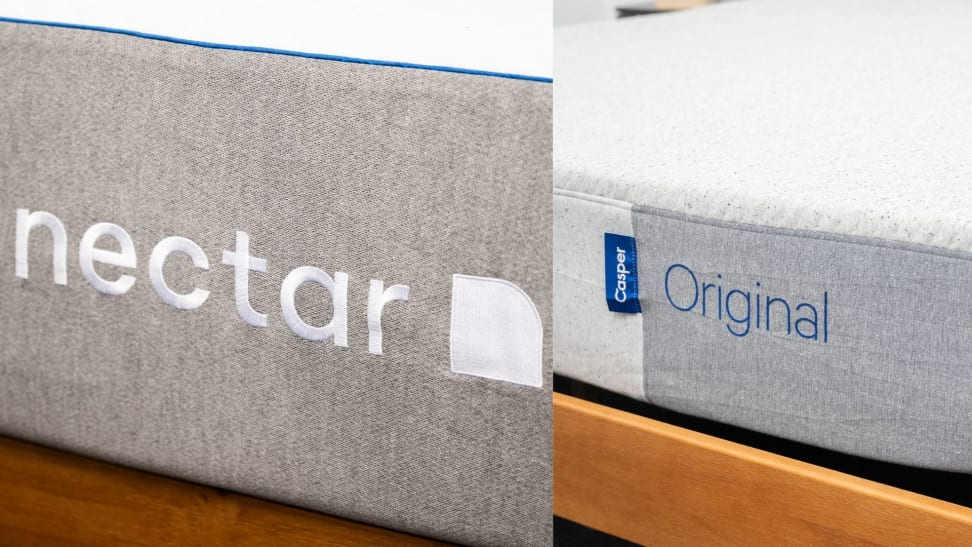 A side by side image of the Nectar and Casper mattress logos