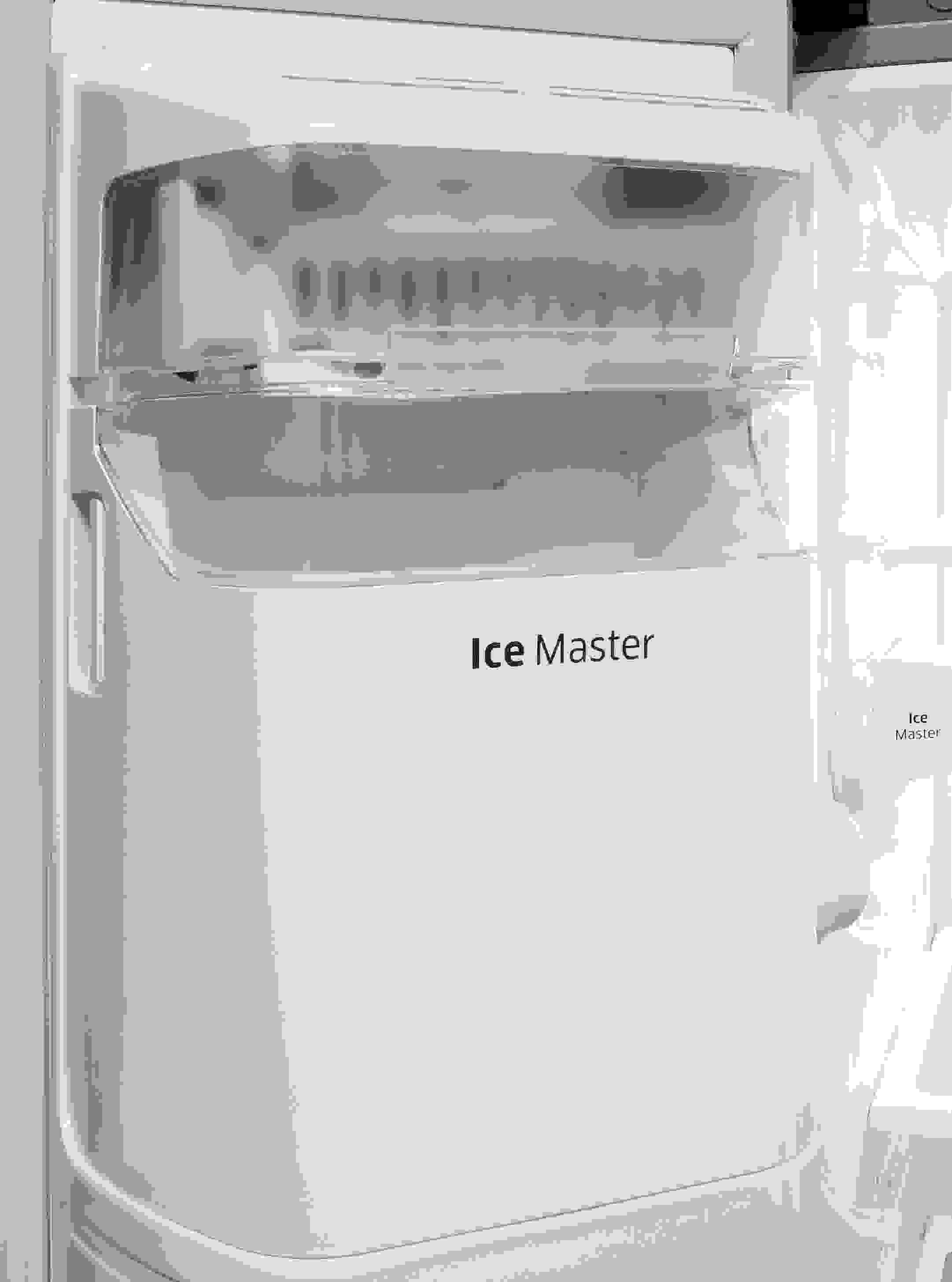 The Samsung RH25H5611SR's door-mounted ice maker helps keep space free in the main freezer section.
