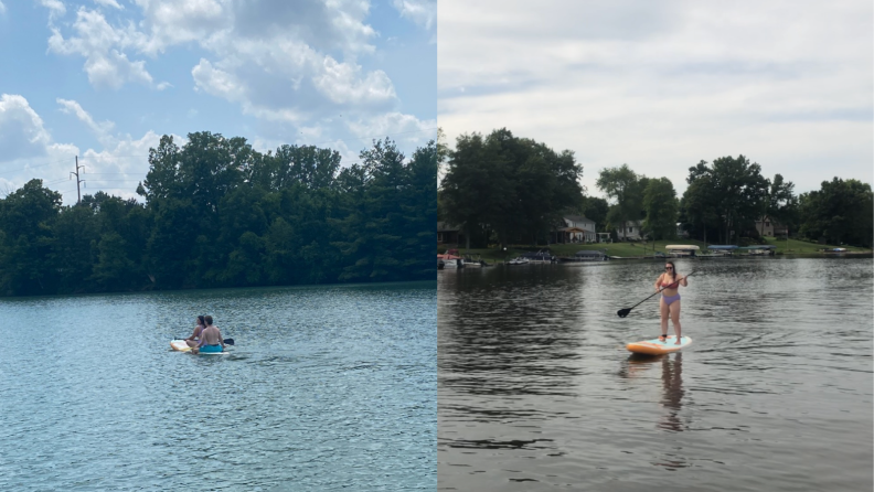 People paddle boarding on lake with inflatable Retrospec board.