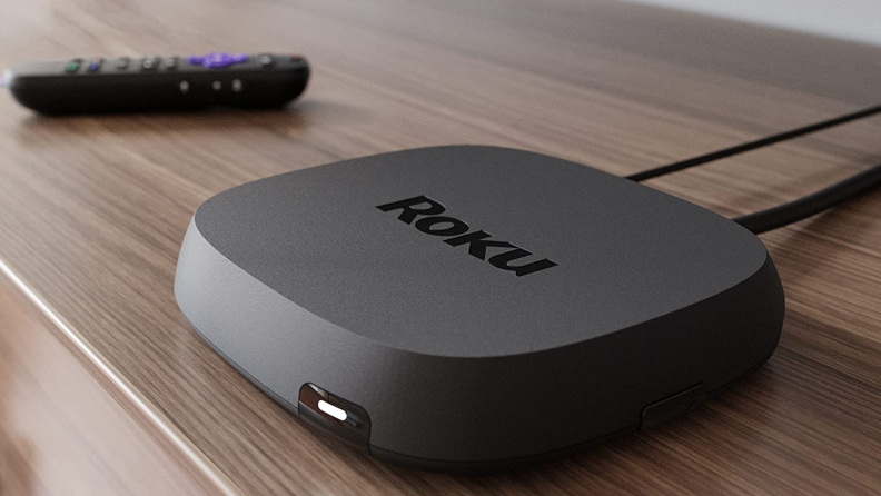 Close up of a Roku Ultra on a table.