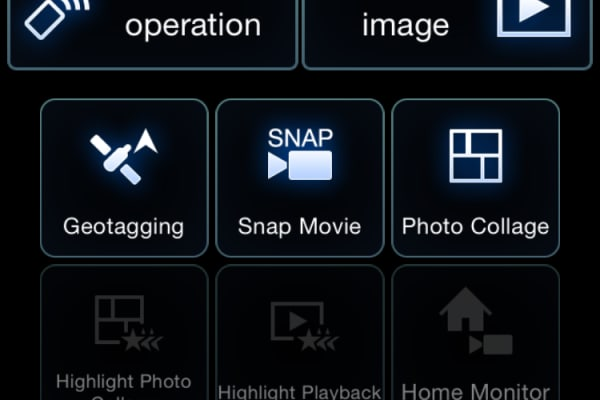 The main menu allows you to access everything from image transfer to home monitoring.