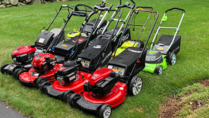 Eight push lawn mowers sit on a green lawn.