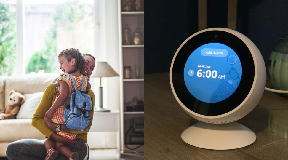 Mom and child and Amazon Echo Spot