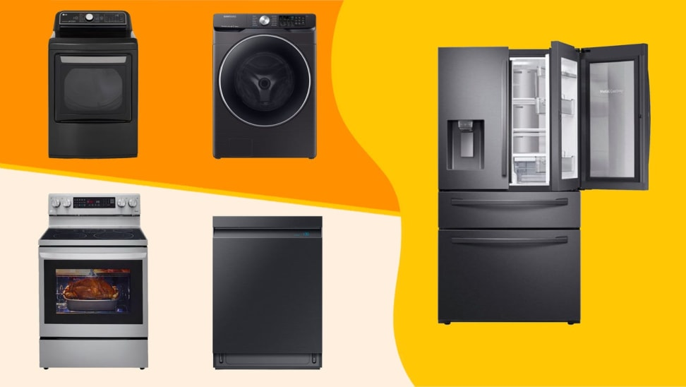 Two stoves, a dishwasher, a washing machine, and refrigerator against an orange and yellow background.
