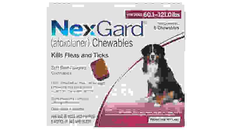 NexGard Chewable Tablets for Dogs, 60.1-121 lbs, 6 treatments