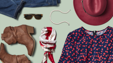 An image of a few items of clothing and accessories on a pale green background, including a hat, a pair of boots, sunglasses, a scarf, and more.