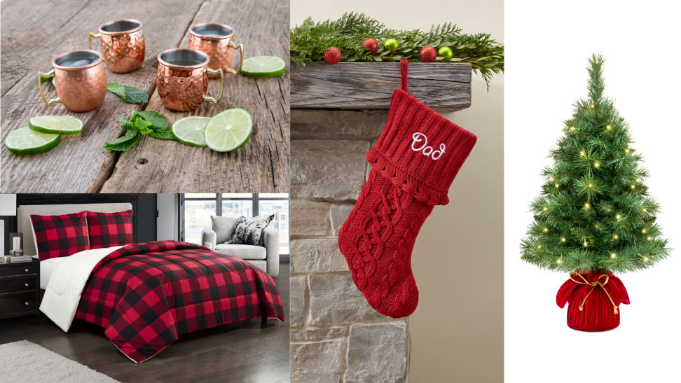 Several holiday items from Walmart including a plaid bedspread, a mini tree, a stocking, and mini mule mugs.