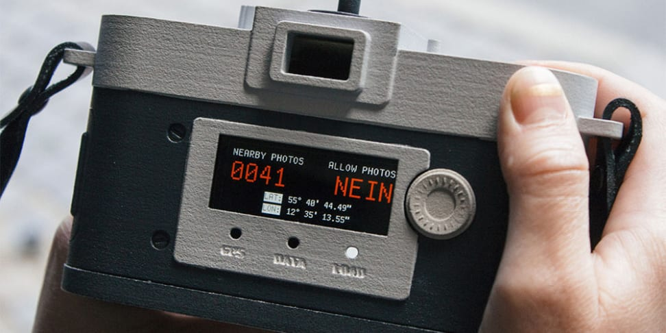 A close-up of the Camera Restricta prototype