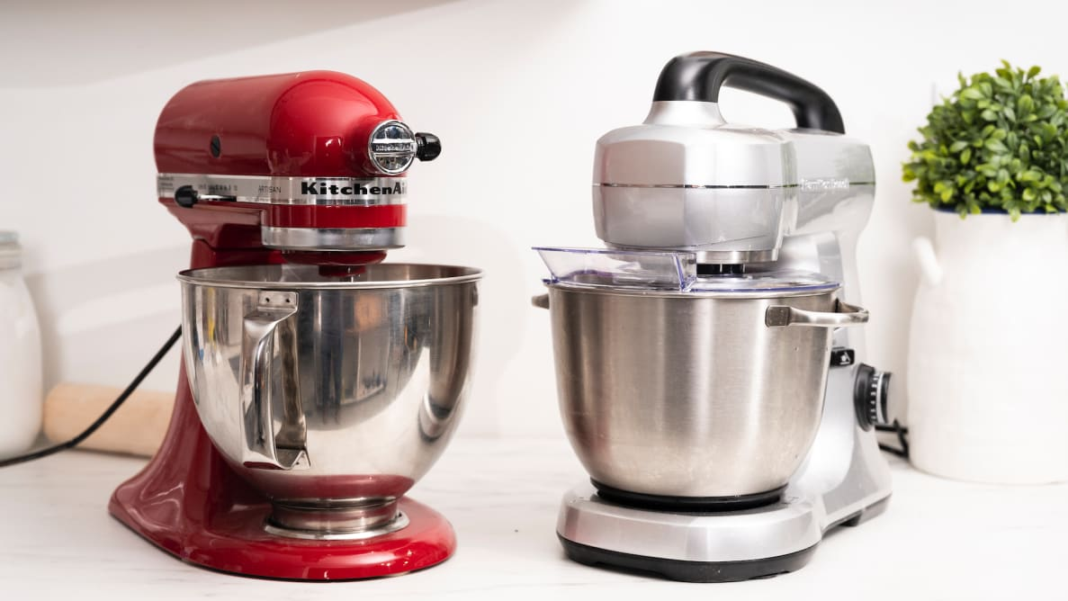 KitchenAid and Hamilton Beach stand mixers on a kitchen counter